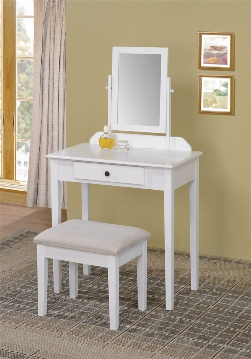 Home design, Small White Bedroom Vanity Set With Spinning