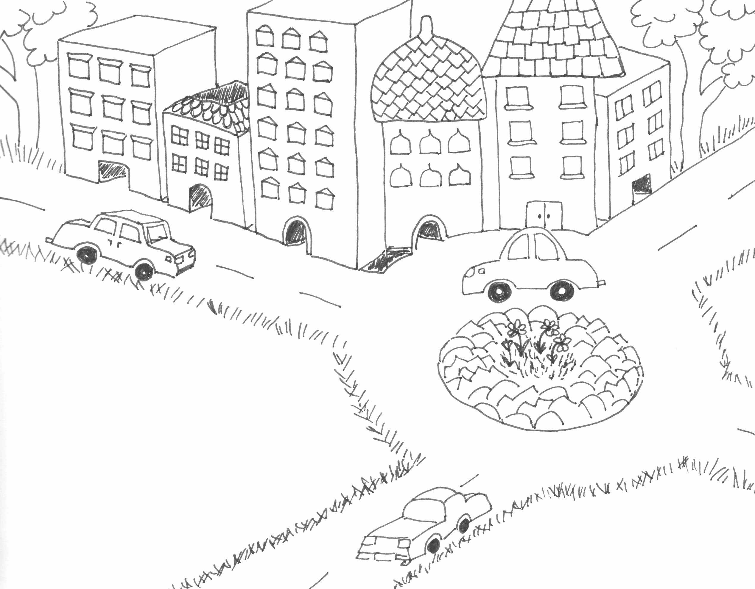 Varos Autokkal Rajz Drawing A Town With Cars Coloring Page Szinezo Coloring Pages Drawings Car Town