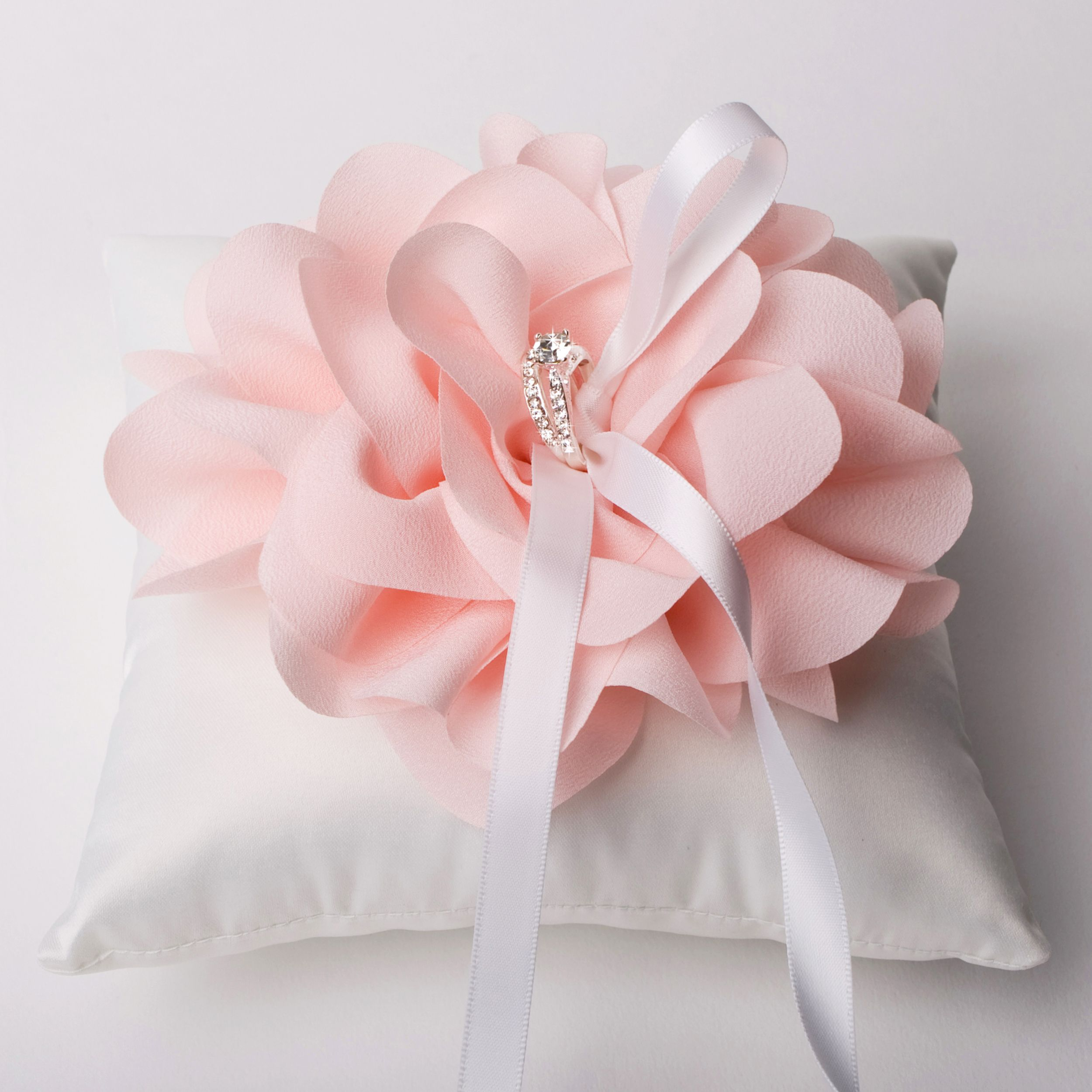 Wedding Ring Pillow with oversized Pink Flower, Wedding Ring Bearer ...