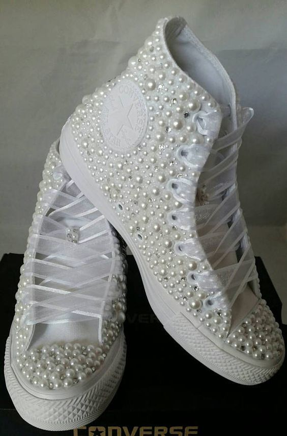 12a4a04818d865 Wedding Converse- Bridal Sneakers- Bling   Pearls Custom Converse ...