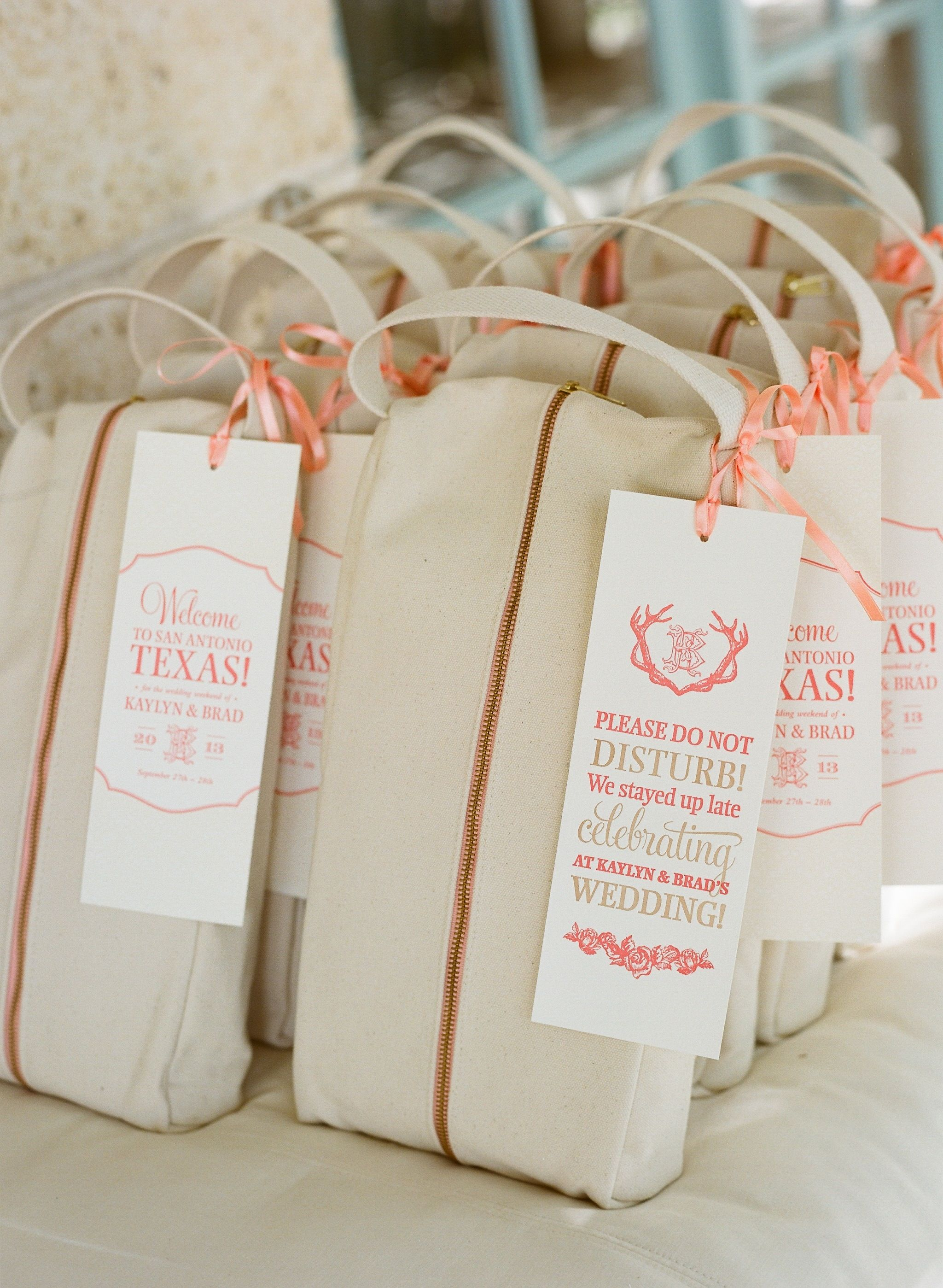 Guest welcome bags with letterpress tags. #texaswedding #eventdesign ...