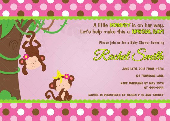 Pink brown green monkey girl baby shower invitation by pink brown green monkey girl baby shower invitation by cuddlebuginvitations filmwisefo