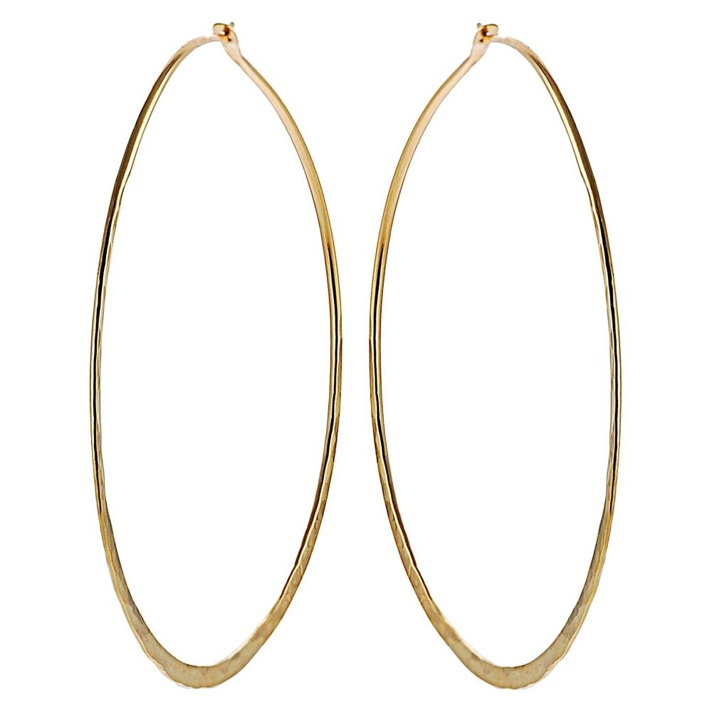 Women's Journee Collection 70 MM Hand-crafted Hoop Earrings in Sterling Silver - Gold