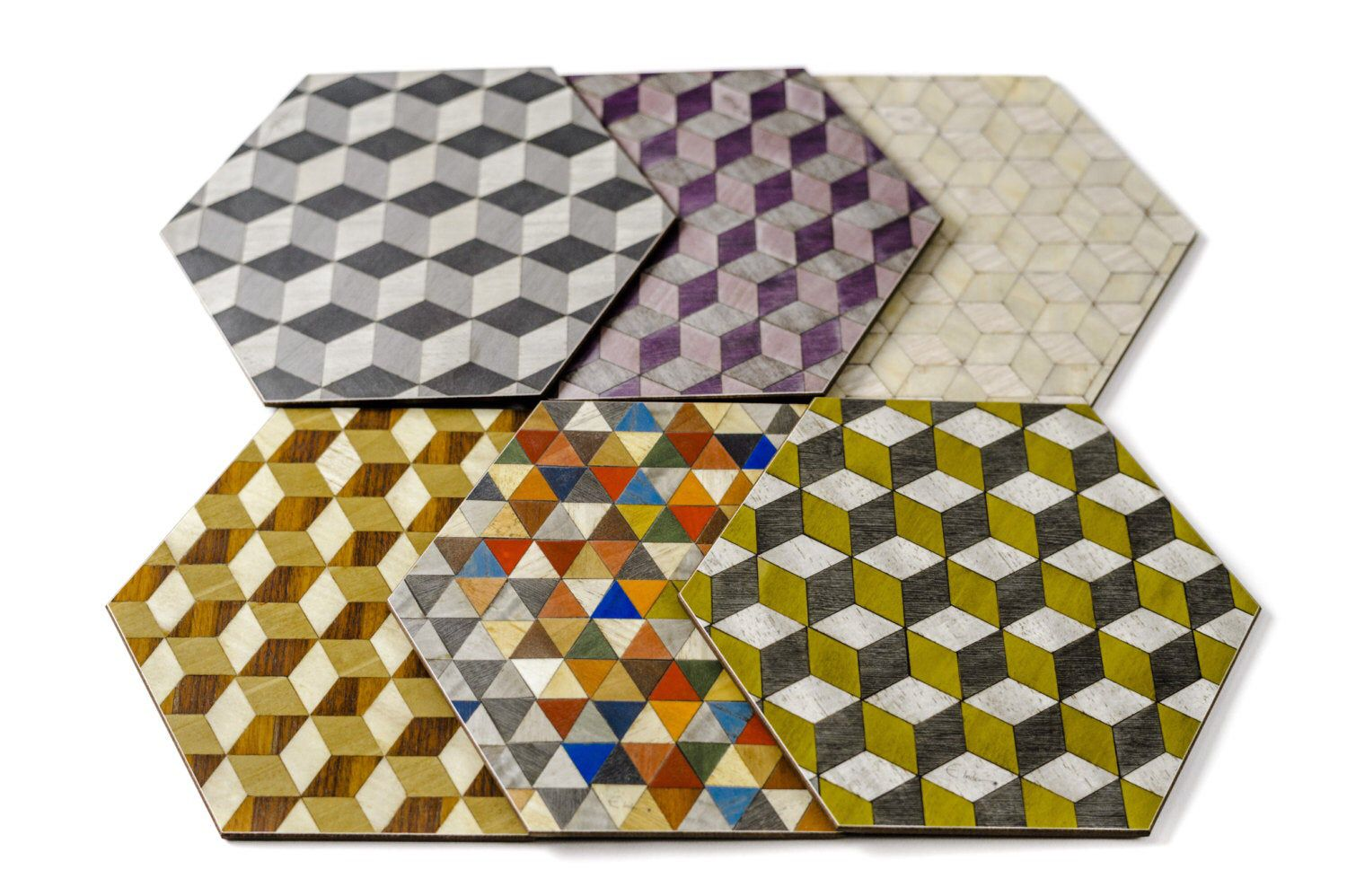 anniversary gift Ready to dispatch from UK Hexagonal Geometric 6 mixed set Placemats Multicolour from the Gatsby and Harlequin Ranges