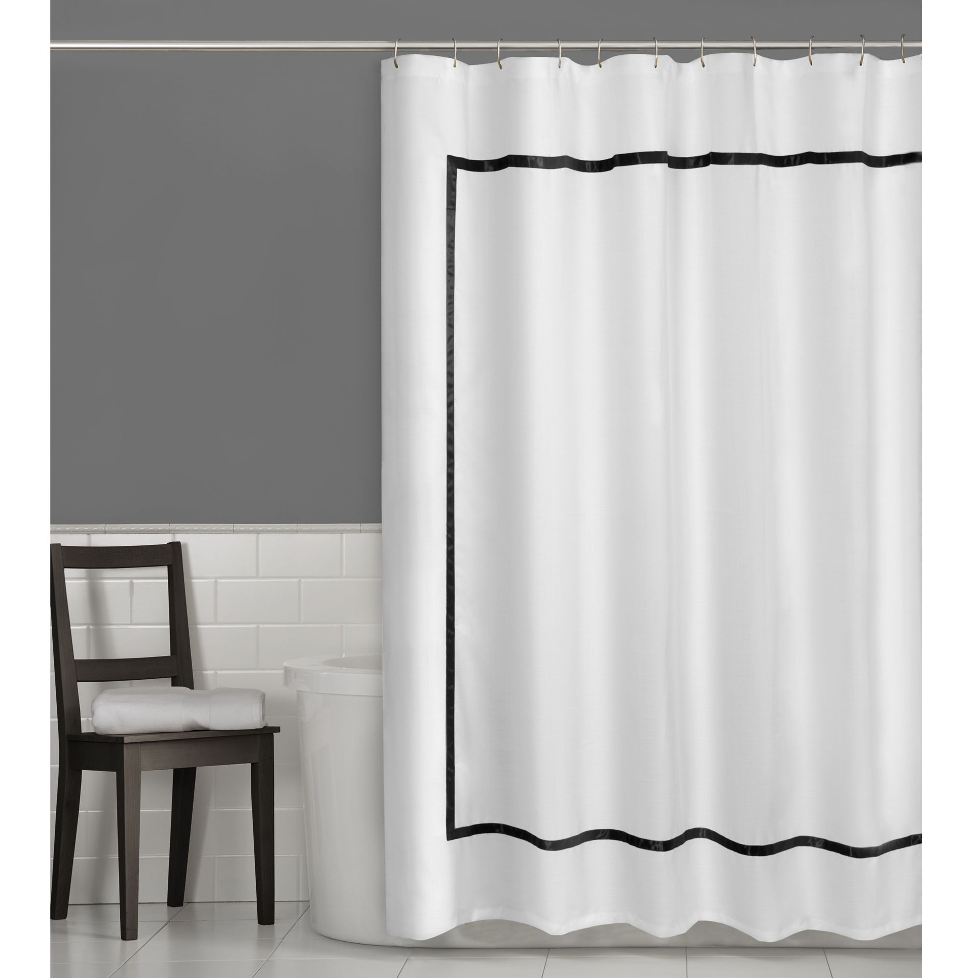This Luxury Hotel Style Shower Curtain Features A Grosgrain Border That Will Accentuate Your Bathroom Decor