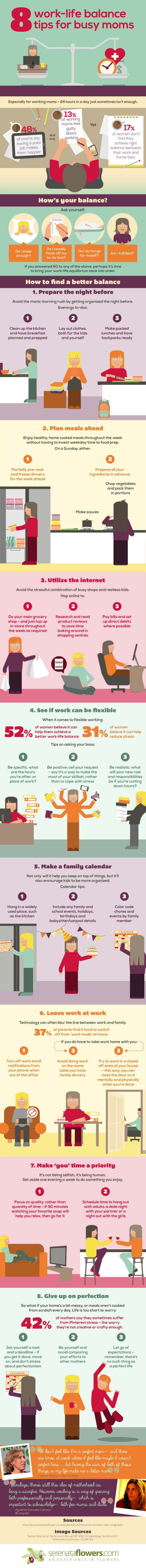8 Work-Life Balance Tips for Busy Moms #infographic