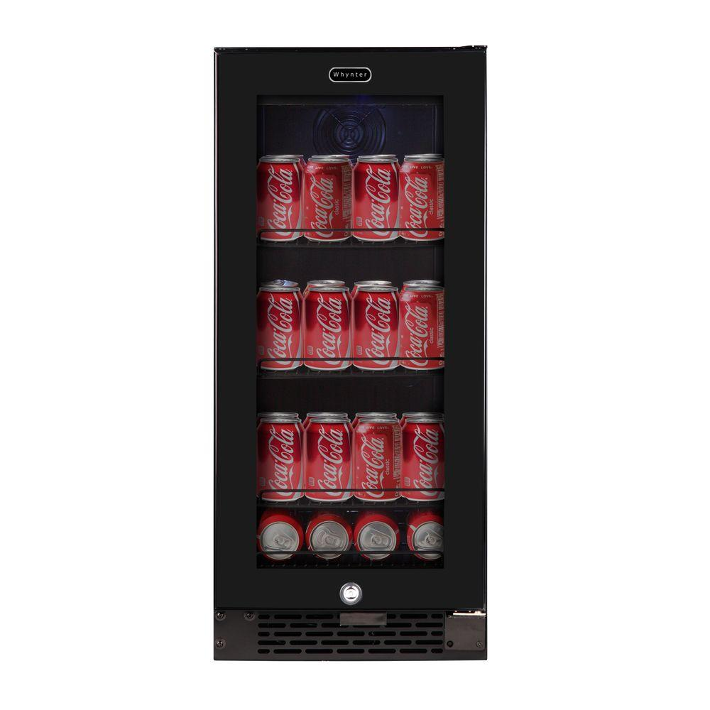 Whynter Built In Black Glass 80 Can 12 Oz 33 Bottle Capacity 3 4 Cu Ft Beverage Refrigerator Cooler Bbr 801bg The Home Depot In 2020 Beverage Refrigerator Beverage Center Refrigerator Cooler