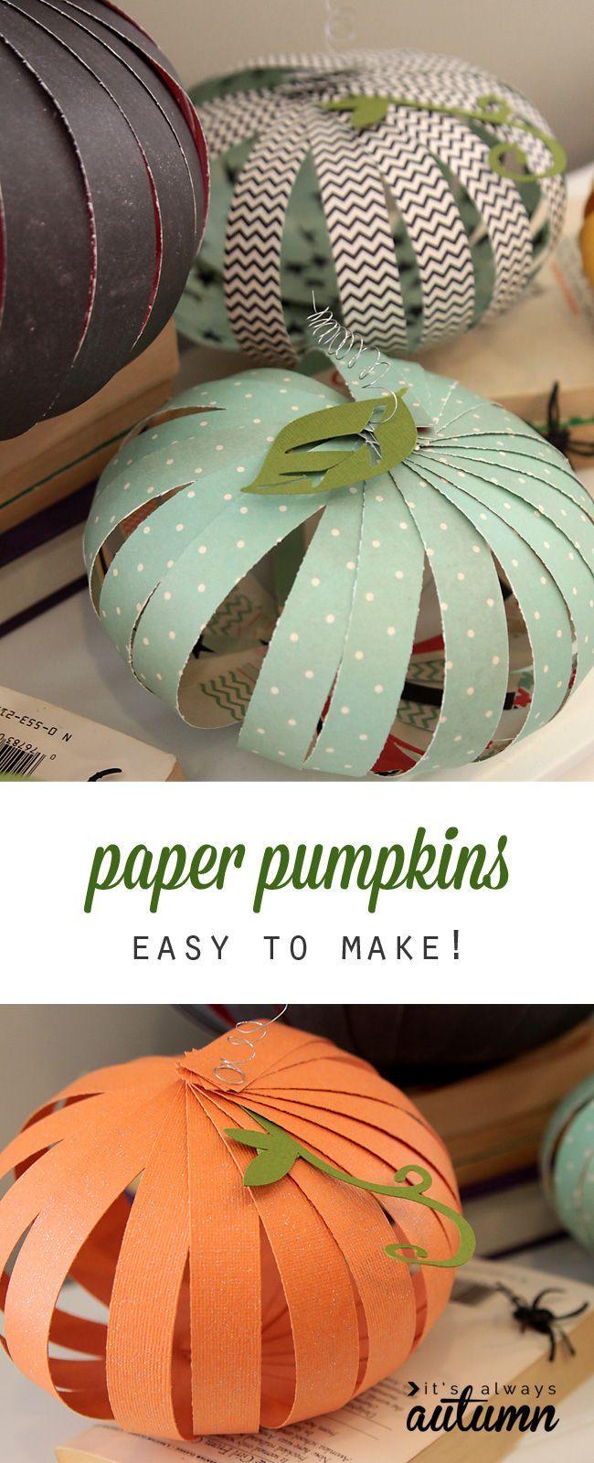 How to make paper pumpkins {fun + easy Halloween kids
