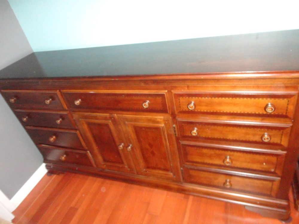 Solid Wood Designer Drawer Dresser Mirror Mahogany