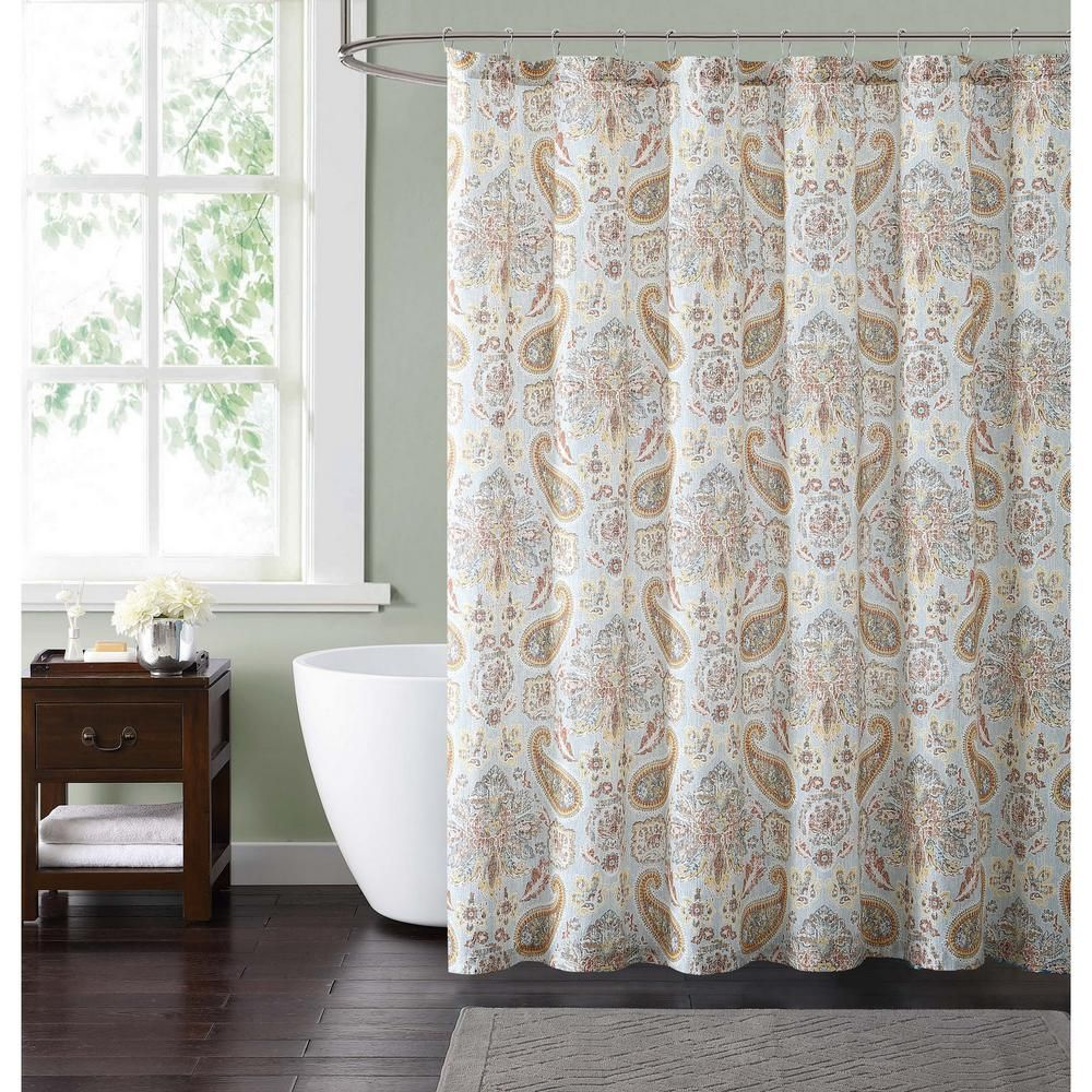 Style 212 Manchester 72 In Blue And Neutral Shower Curtain