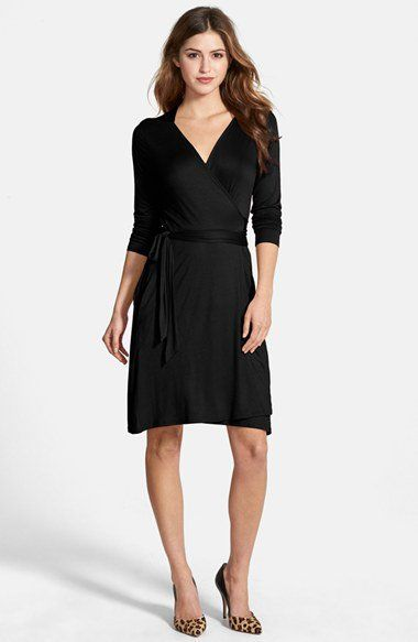 585776fc7d8 Loveappella Seamed Wrap Dress (Regular   Petite)