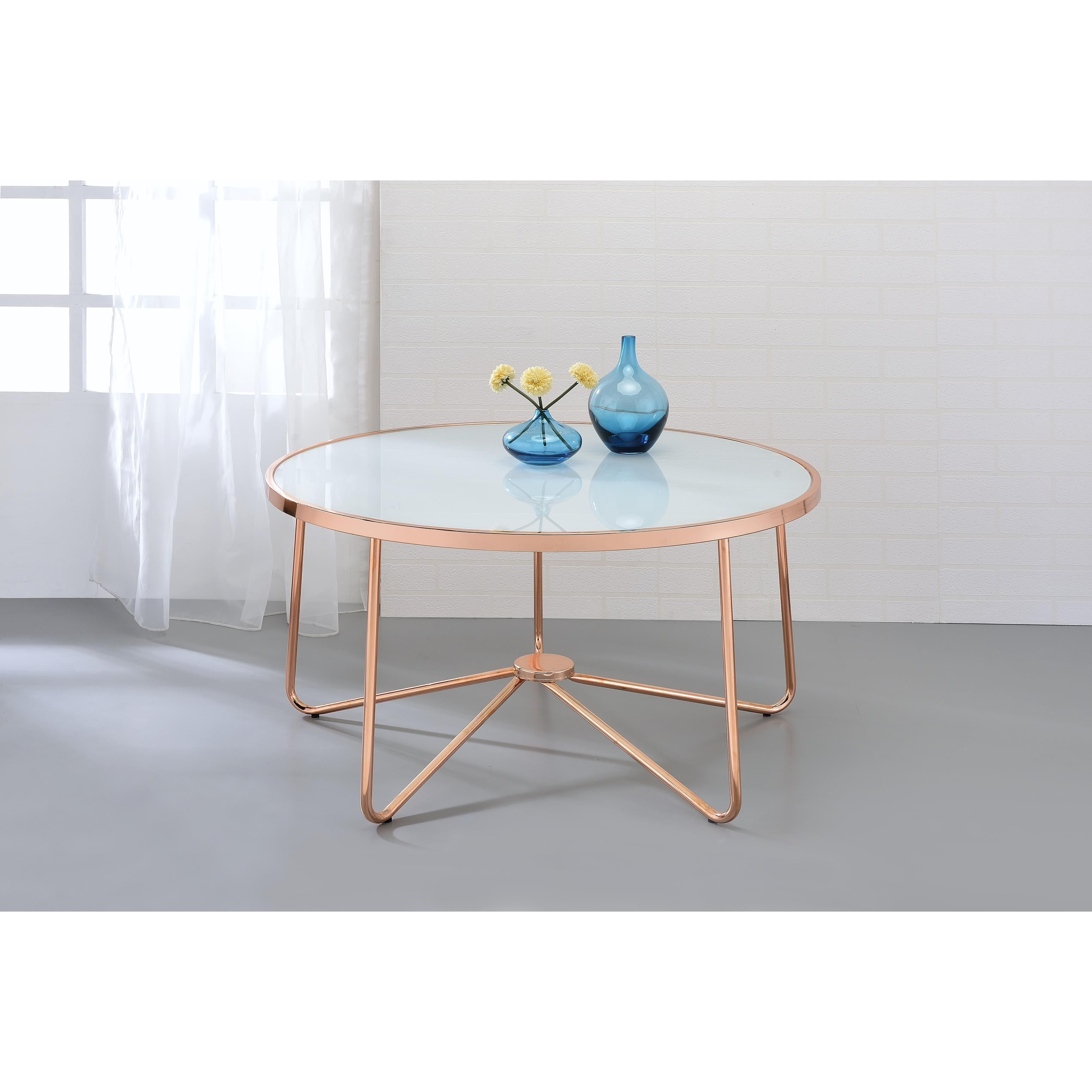 Couchtisch Depot Acme Furniture Alivia Rose Gold Metal And Frosted Glass Coffee