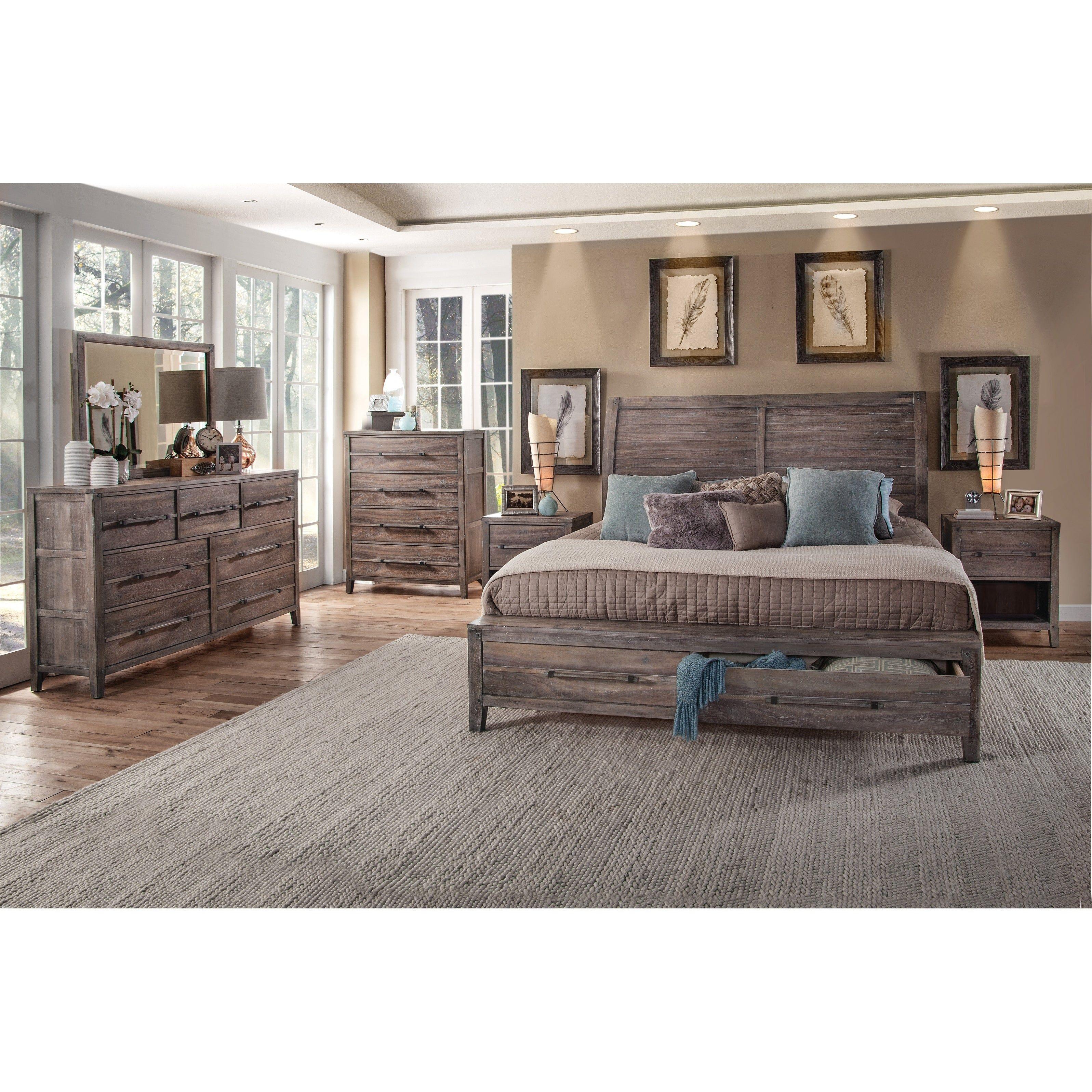 Asher 6 Piece Bedroom Set King Whitewashed Beige Greyson Living In 2020 King Bedroom Sets Bedroom Sets Bedroom Furniture Sets