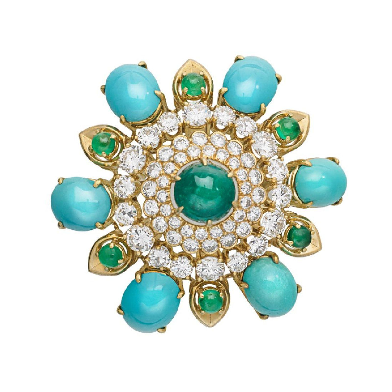 Emerald, Diamond & Turquoise Yellow Gold Brooch