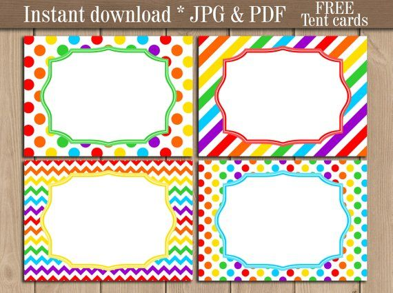 Rainbow Food Tent labels printable. Address Food Party ...