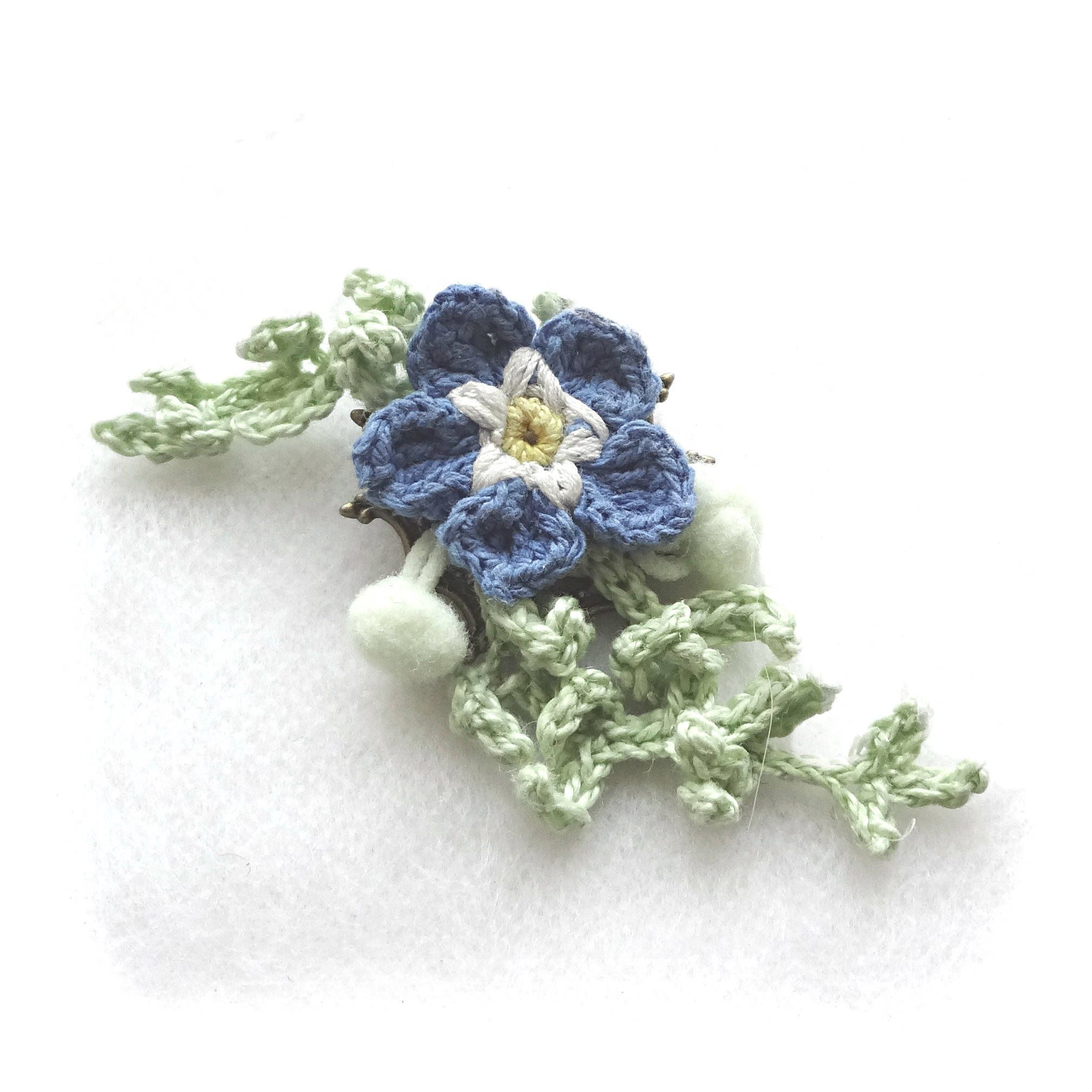 s crosetata brosa brooch pin com flower facebook floare crocheted