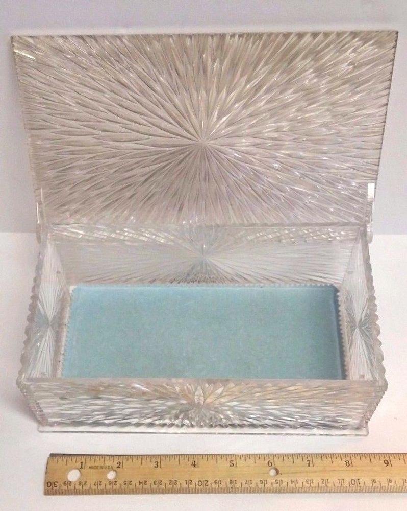 Vintage CELEBRITY NY Starburst Lucite Plastic Powder Blue Pad Vanity