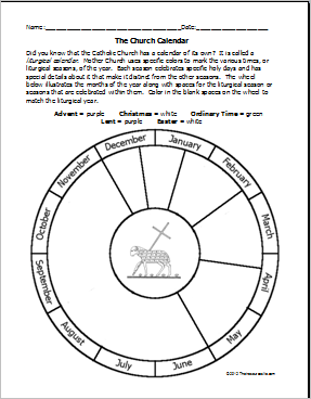Free Printable Church Liturgical Calendar Template To Color Site Also Has Other Catholic Worksheets And Sheets