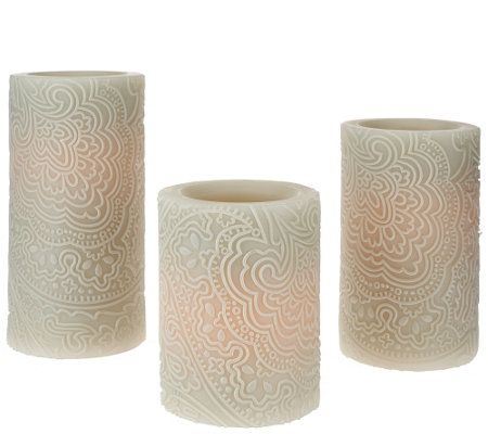 Qvc Flameless Candles Fascinating Set Of 3 Candle Impressions Indochine Flameless Candles  Flameless Design Decoration