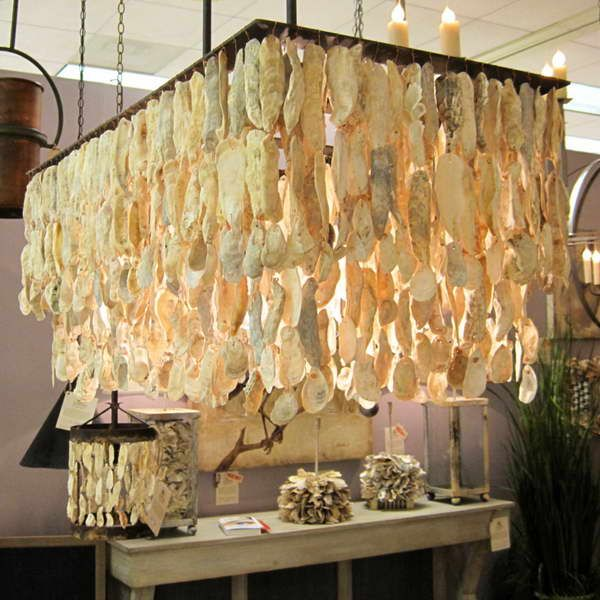 Oyster shell chandelier table with wood diy pinterest shell oyster shell chandelier table with wood mozeypictures Choice Image