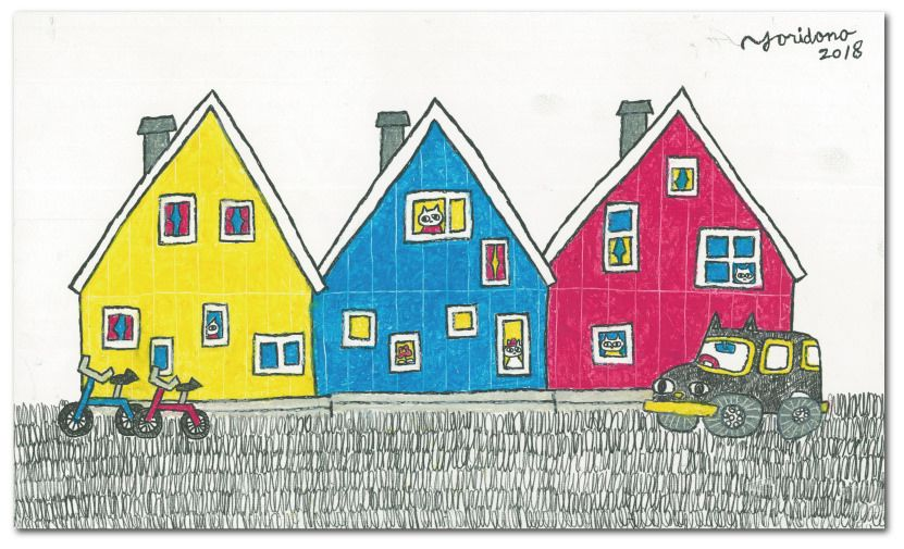 Colorful House キャンバスアート 猫 絵 北欧イラスト
