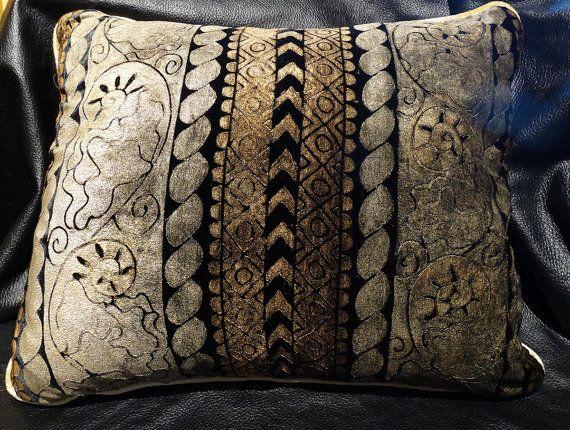 Venetian Silk Velvet Designer Pillow Mirella By Elegantartifacts Designer Pillow Bronze Design Silk Velvet