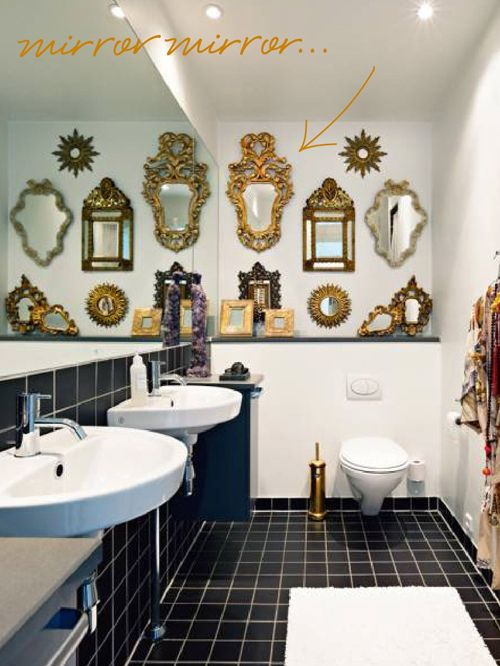 Awesome mirror collage in a bathroom. What a great idea to have a ledge like - Awesome Mirror Collage In A Bathroom. What A Great Idea To Have A
