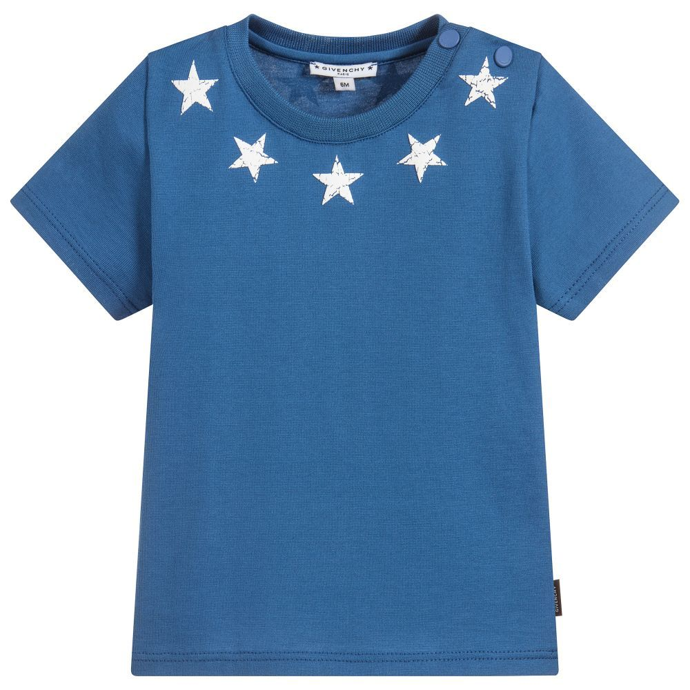 1983bef26 Baby boys blue T-shirt from #Givenchy Kids. Made in luxuriously soft and  stretchy cotton jersey. It has the designer's iconic star print in white  around the ...