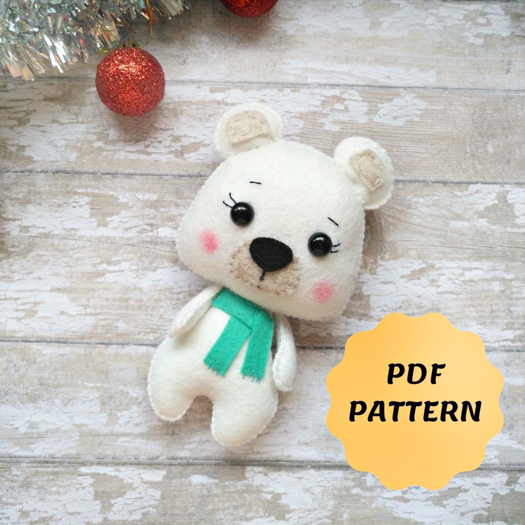 Felt Bear Sewing Pattern Felt Bear Ornament Christmas Bear Etsy In 2021 Felt Toys Patterns Felt Crafts Patterns Felt Ornaments