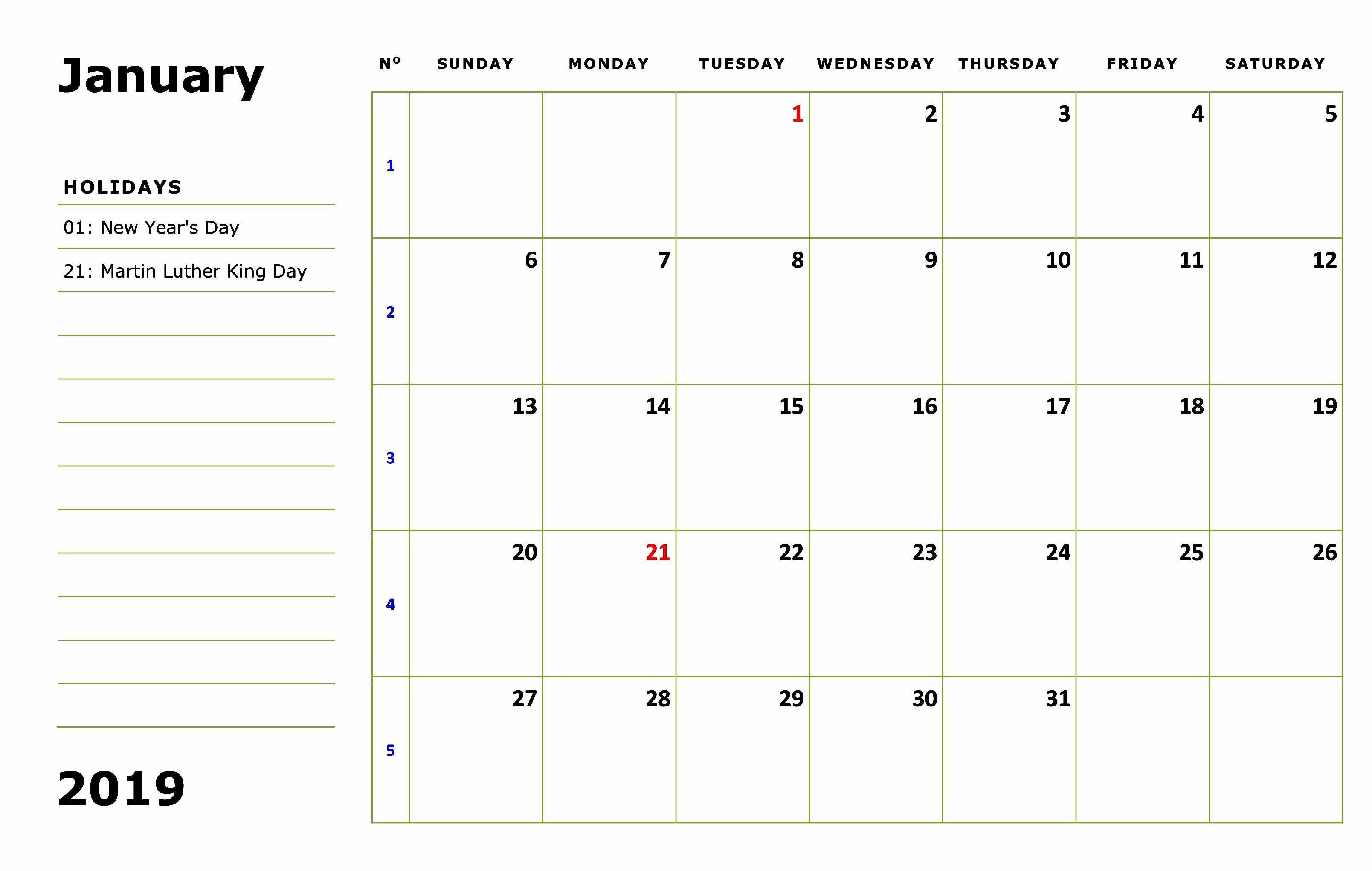 January 2019 Calendar Editable Template January 2019 Calendar