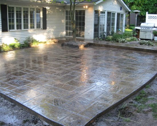 Stain Patio Stamped Concrete Design Pictures Remodel Decor And Ideas Concrete Patio Designs Concrete Patio Patio Makeover