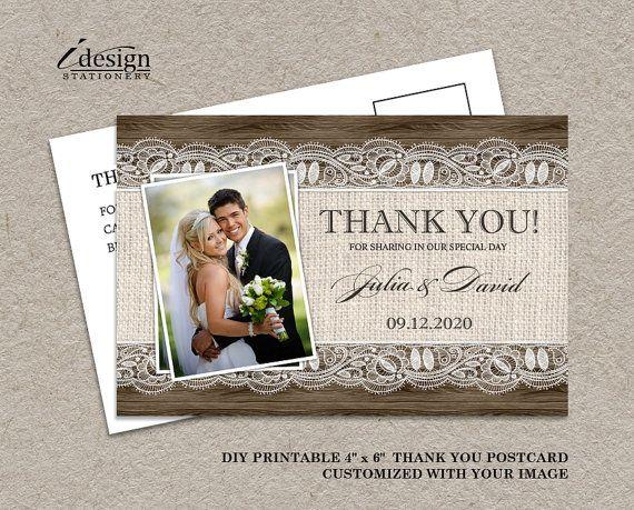 DIY Printable Rustic Wedding Thank You Photo by iDesignStationery