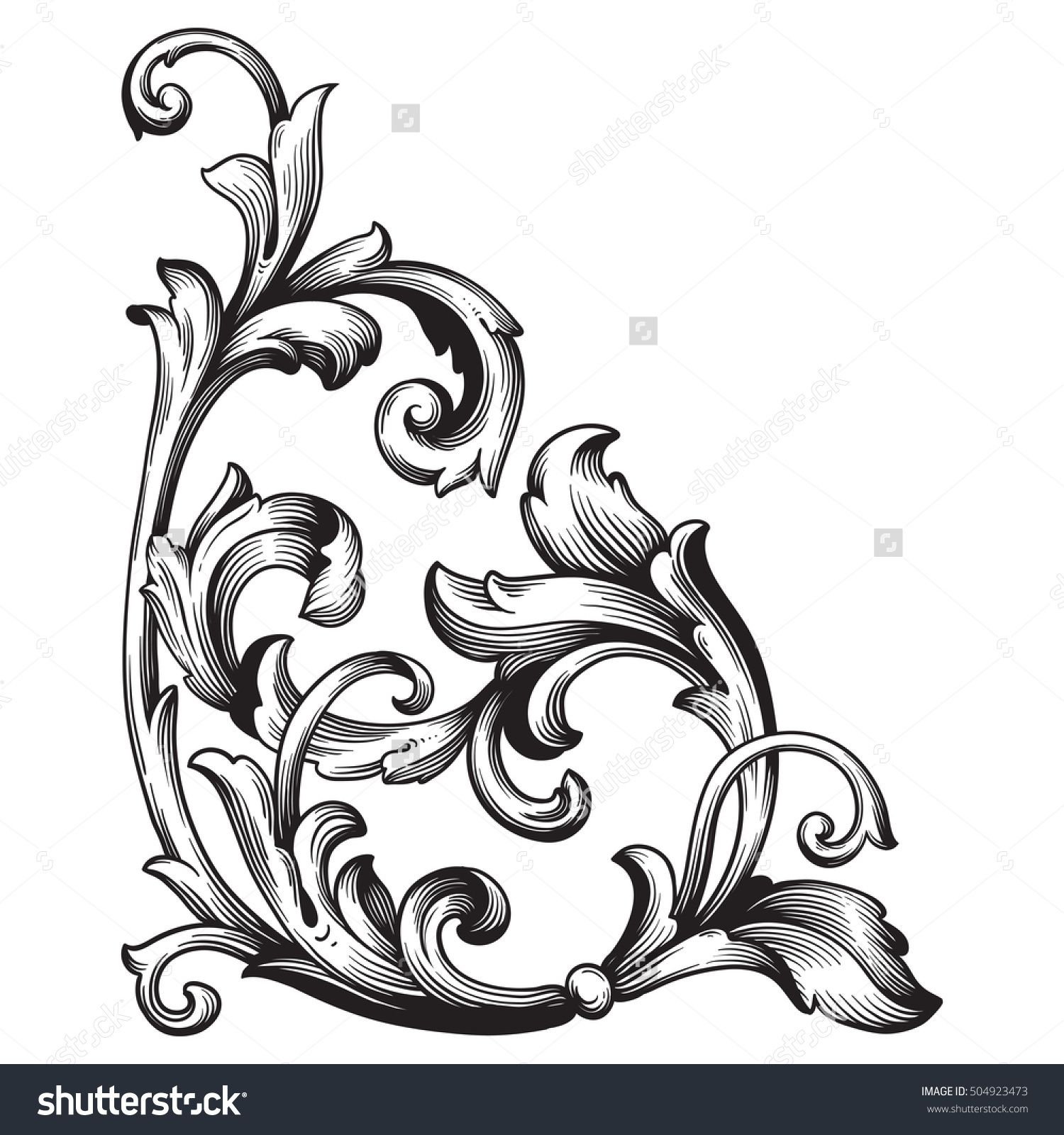 Antique Scroll Design: Vintage Baroque Corner Scroll Ornament Engraving Corner