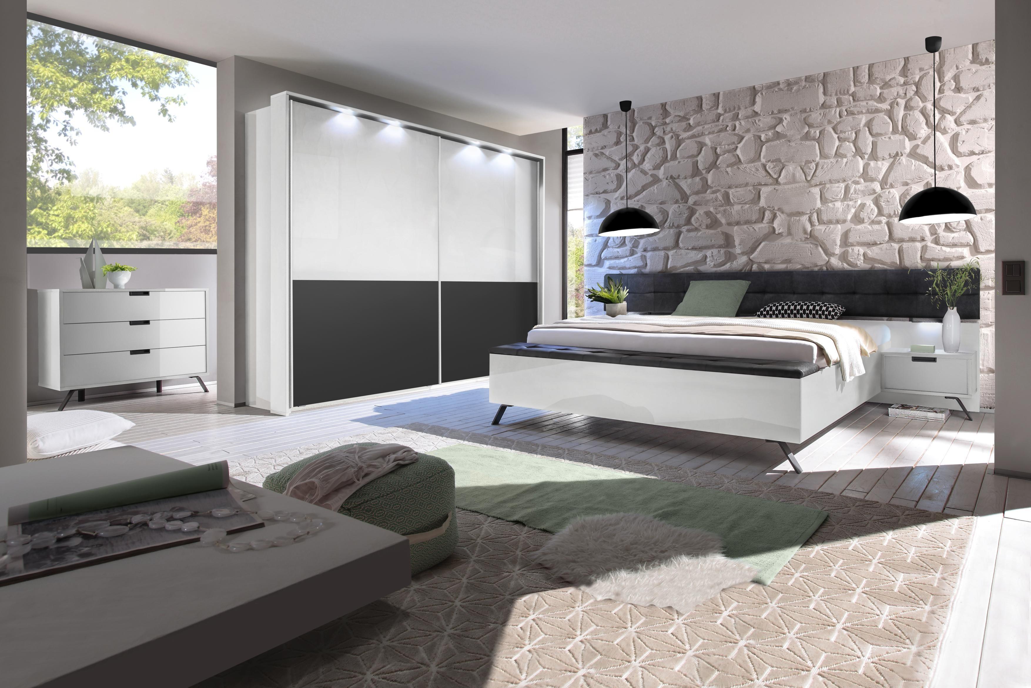 4teiliges Schlafzimmer moderner Look in Weiß & Anthrazit