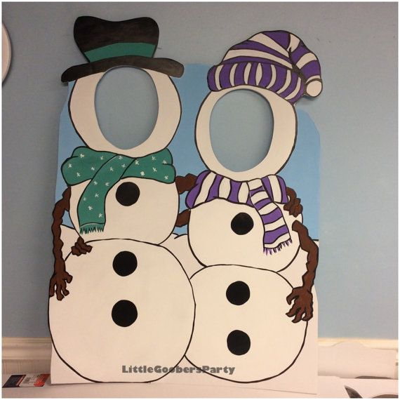 Winter Wonderland Photo Booth Prop Foam Board Snowman Duo Face In
