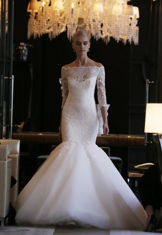 Hot sale 2017 Fashion Boat Neck Mermaid Wedding Dress Off the Shoulder Lace Bridal Gowns with Half Sleeves Bridal dres