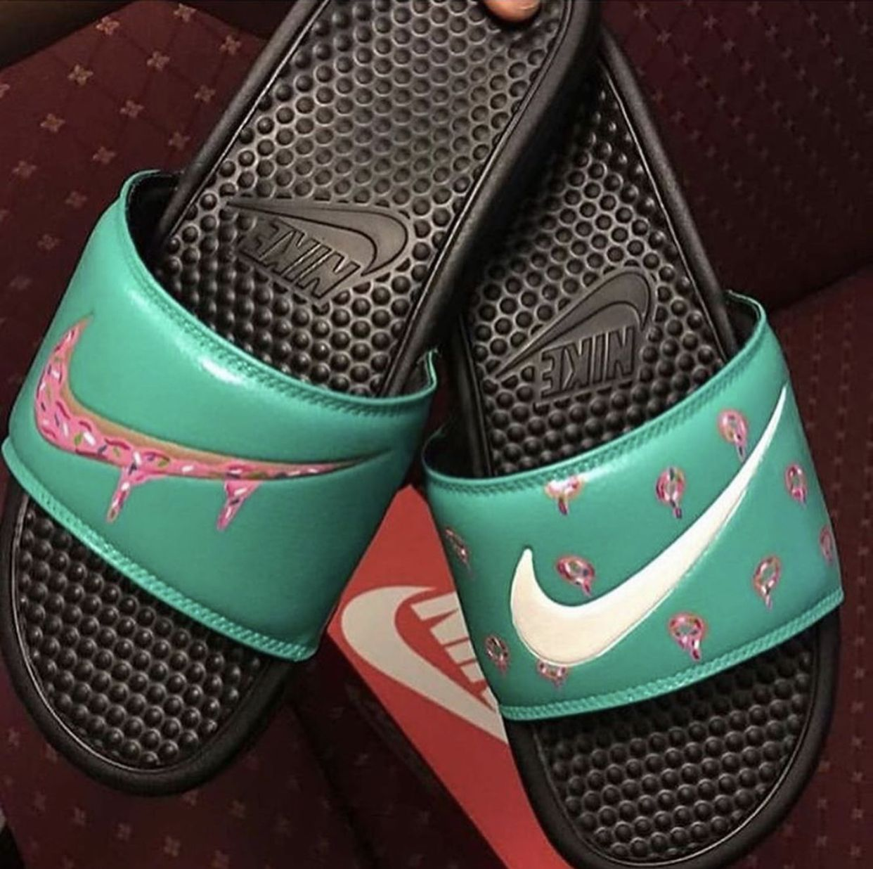 Hype shoes, Pink nike slides, Nike slides