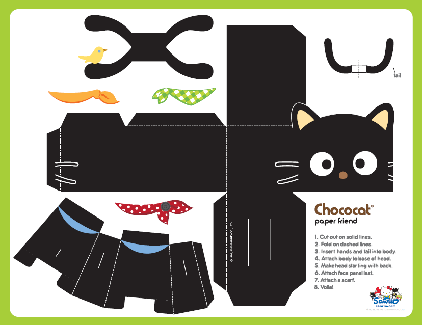 photo regarding Printable Toys titled Cost-free printable chococat cat paper toy Do it yourself Paper dolls