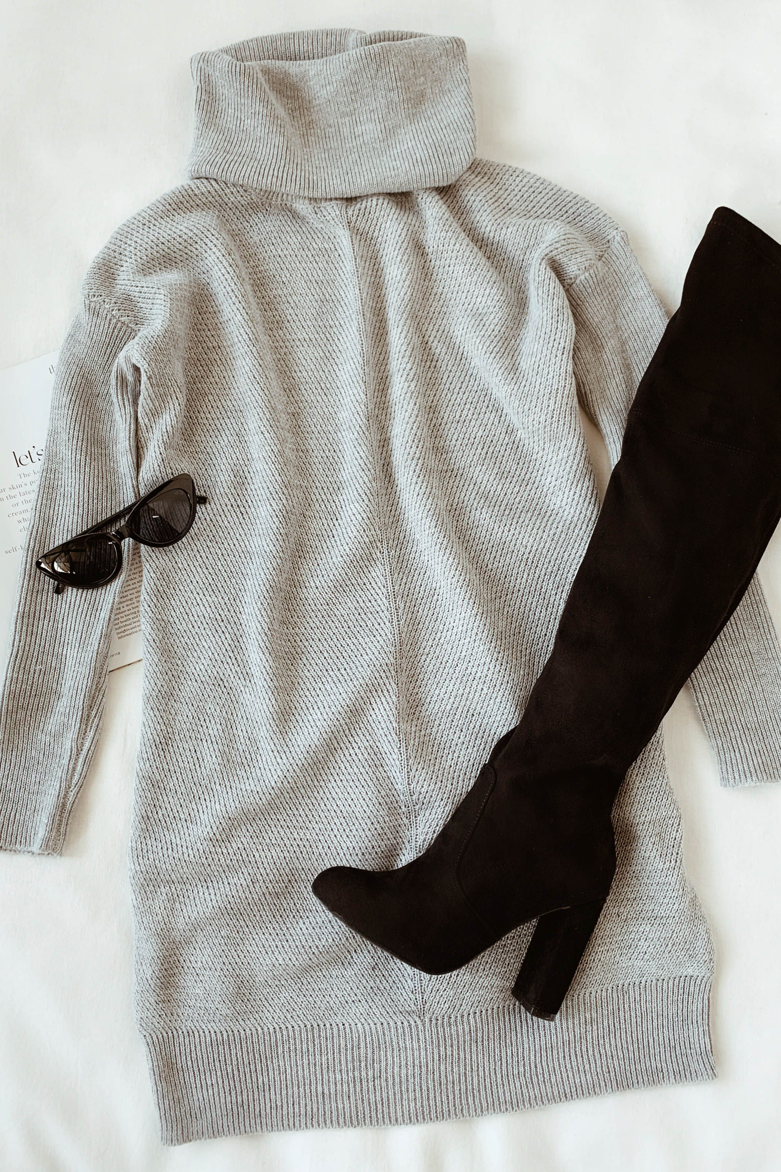 Tea Reader Light Grey Sweater Dress #sweaterdressoutfit
