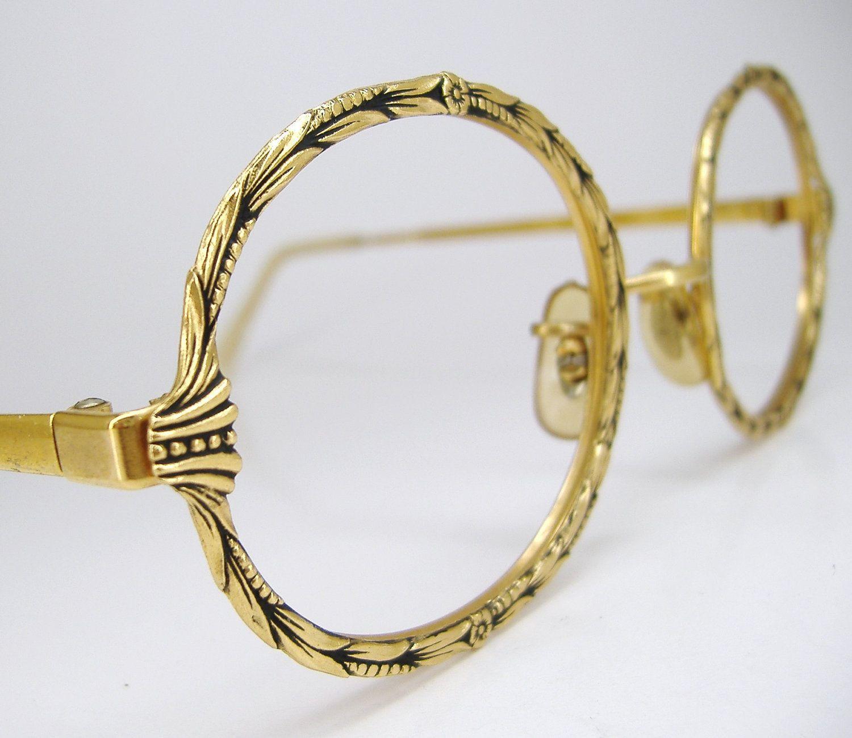 vintage eyeglass images | Vintage Round Flower Eyeglasses Frame 12K ...