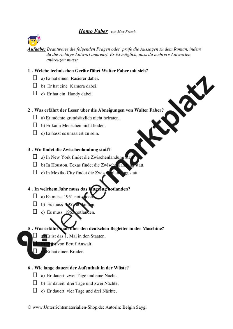 Literaturtest zu dem Roman | Heiraten, Unterrichtsmaterialien und ...