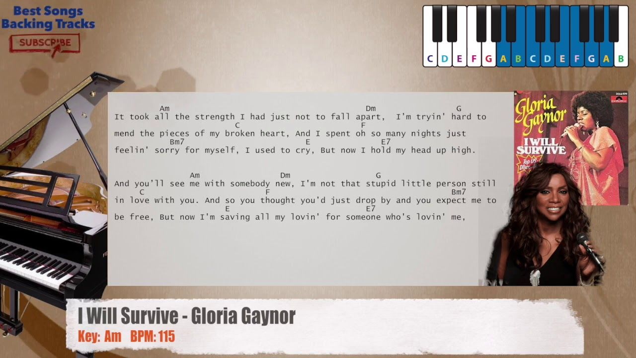 I Will Survive Gloria Gaynor Piano Backing Track With Chords And Lyrics
