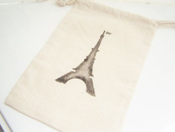 Favor Gift Bag Muslin Bag Glittery Eiffel Tower by WitsEndDesign
