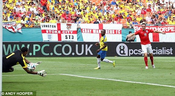 Ecuador 2-2 England - Rickie Lambert blasts home England's second goal in the friendly in Miami