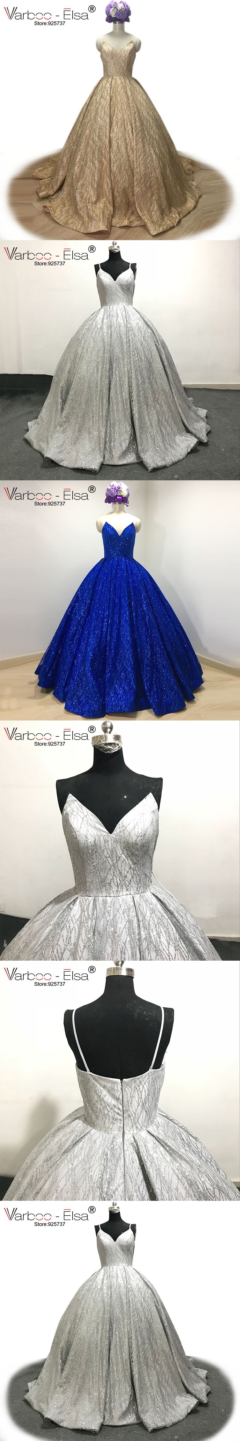 VARBOO ELSA 2017 New Shiny Silver ballgown Sequined Sexy V-neck Prom Gown  Detachable Shoulder Strap 831ca322e54a
