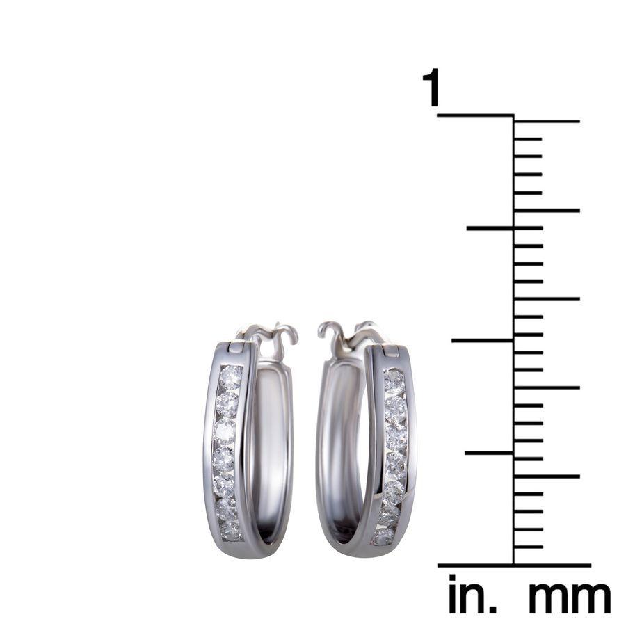 d7d84bb32a8bb 14K White Gold Oval Channel Set Diamond Hoop Huggies Earrings .33 ...