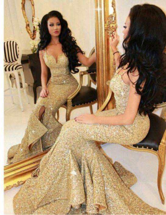 Spaghetti Strap Gold Sequins Lace Mermaid Prom Dress,2016 Evening ...