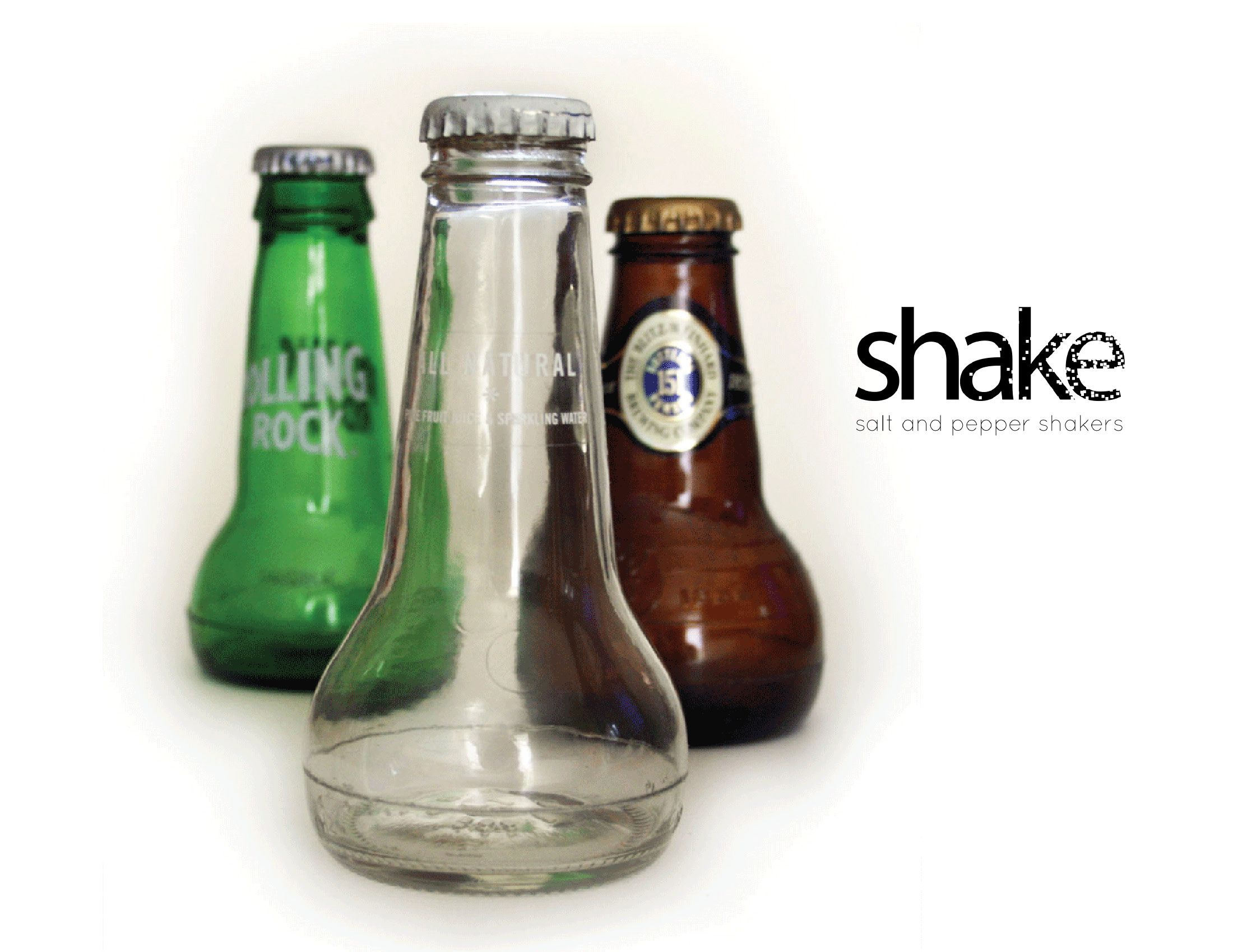 Salt and Pepper Shakers Made From Empty Glass Bottles