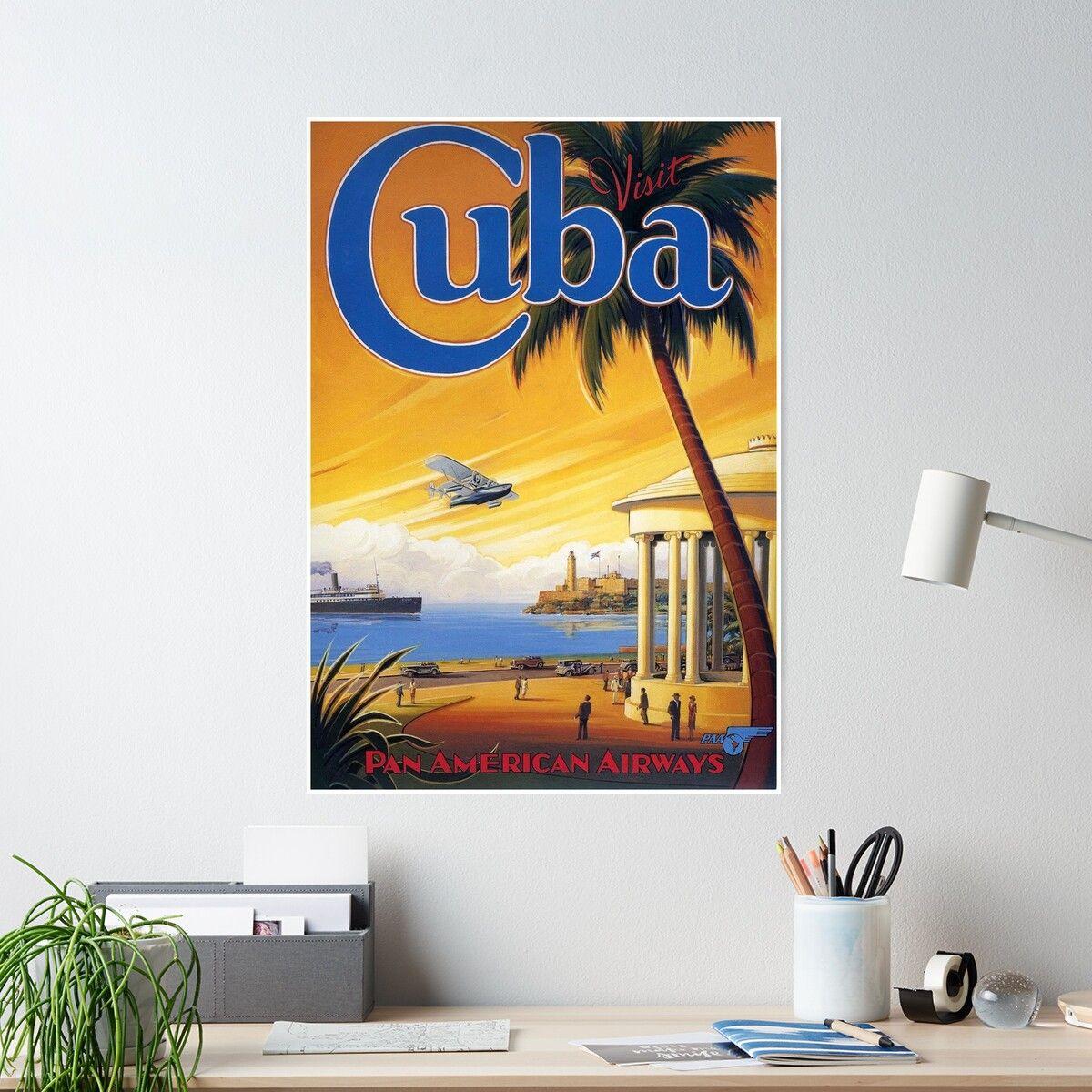 'Visit Cuba Pan American Airlines Vintage Travel Poster' Poster by Framerkat #visitcuba