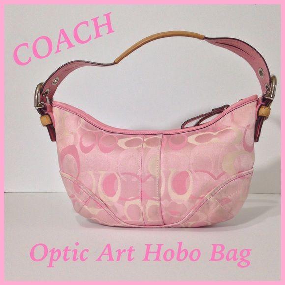 Coach Op-Art Hobo Bag Pink and cream optic art purse. Small hobo with fd52c1fd4a